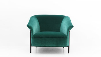 Porro - Kite armchair in green velvet