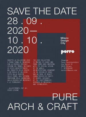 Porro, image:news_immagini - Porro Spa - SAVE THE DATE - MILANO DESIGN CITY - 28.09-10.10.2020